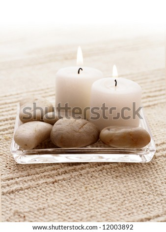 SPA candles. tranquil scene. relaxation spa set - stock photo