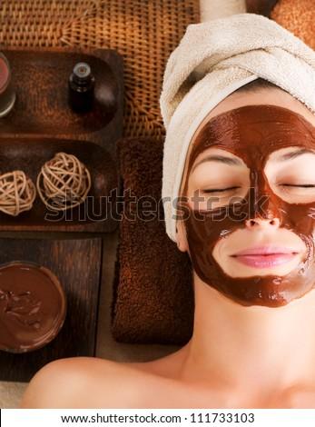 Spa Chocolate Mask.Facial Spa. Chocolate Treatments. Beauty Spa Salon - stock photo