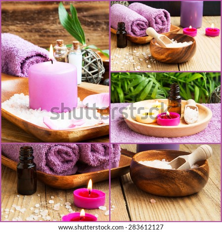 Spa Collage Composition of 4 Spa Photos with Scent Candles. Soft Towels and Aromatherapy on Wellness Background - stock photo