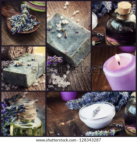 Spa collage series. Collage of rustic lavender welness organic products on wooden background. Lavender soap, shampoo, oil, skin care and lavender oil - stock photo