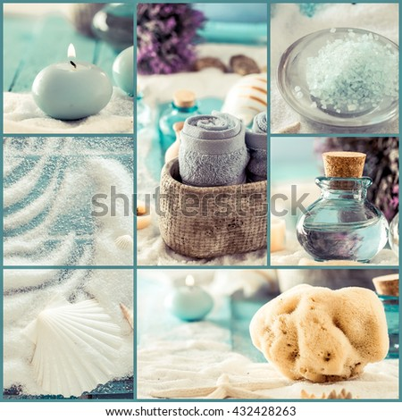 Spa collage series. Spa collage made of five images. Floral water, bath salt, candles and towel. Dayspa image - stock photo
