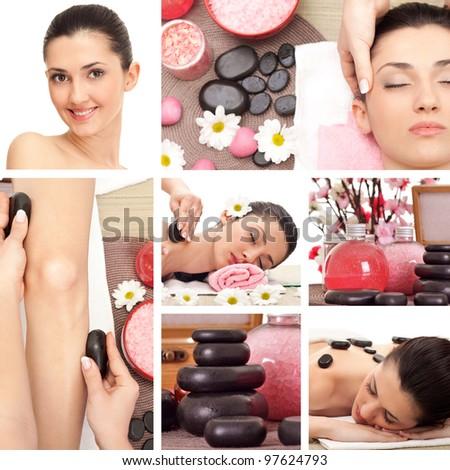 Spa Collage, spa massage - stock photo
