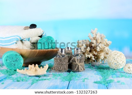 Spa composition on sea background - stock photo