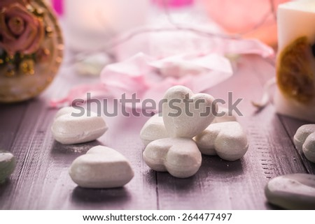 Spa composition on the occasion of Valentine's Day: heart, love, body, health - stock photo