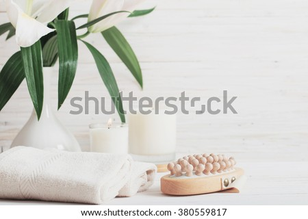 spa composition on white wooden background - stock photo