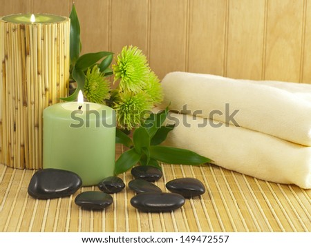 Spa composition with bamboo and stones - stock photo