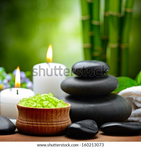 spa composition with lime and toning sea crystals - stock photo