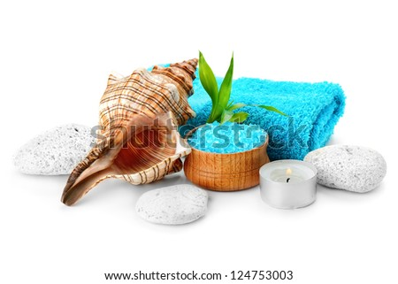 spa composition with soap and toning sea crystals - stock photo