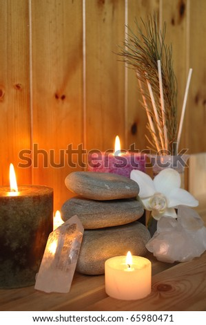 Spa Composition with stone tower - stock photo