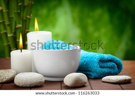 spa composition with toning sea crystals - stock photo