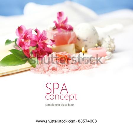 Spa concept in white - stock photo