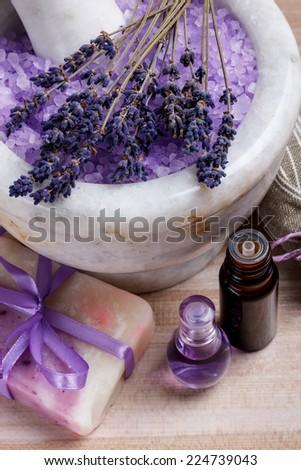 Spa concept, lavender oil, soap and bath salt - stock photo