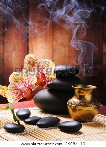 spa concept with orchid and zen stones - stock photo