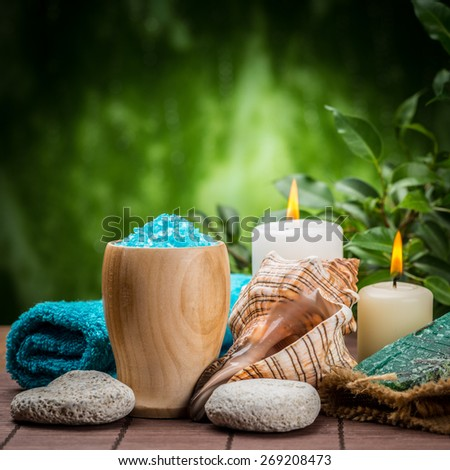 spa concept with zen basalt stones ,orchid and sea toning crystals  - stock photo