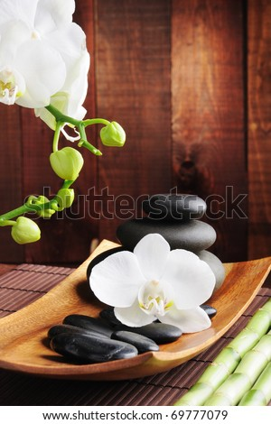 spa concept zen stones and  orchid - stock photo