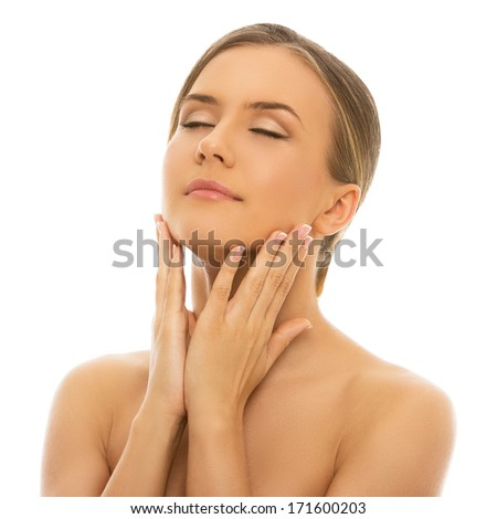 Spa. Cute woman with perfect, clean skin - stock photo
