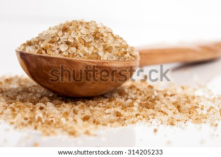 Spa essentials (bath salt in a spoon) - stock photo