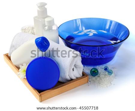 Spa essentials with sea salt - stock photo