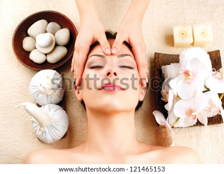 Spa Face Massage. Facial Treatment. Therapy - stock photo
