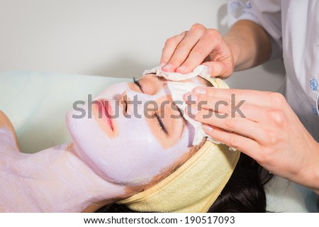 spa facial procedure - stock photo