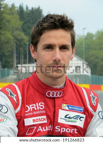 SPA-FRANCORCHAMPS, BELGIUM - MAY 1: Portuguese race car driver Filipe Albuquerque (Audi Sport) during round 2 of the FIA World Endurance Championship on May 1, 2014 in Spa-Francorchamps, Belgium.  - stock photo