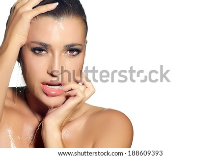 Spa Girl. Young sensuality woman with perfect clean skin under stream of water. Beauty and Fashion - stock photo