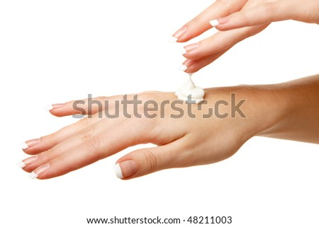 Spa hands over isolated white background - stock photo