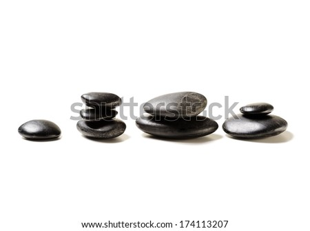 spa, health and beauty concept - closeup of hot massage stones - stock photo