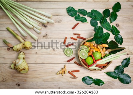 Spa herbal treatment on wood background - stock photo