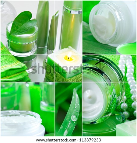 Spa ingredients and plants in tones of green - stock photo