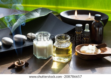 Spa ingredients (oil, creme ,scrub)  - stock photo