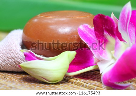 Spa Item with natural soap - stock photo
