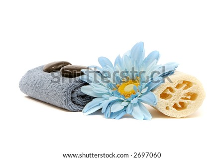 Spa items and blue flower - stock photo