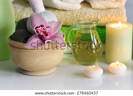 spa items with lilac orchid - stock photo