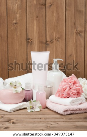 Spa Kit. Shampoo, Soap Bar And Liquid. Toiletries. - stock photo