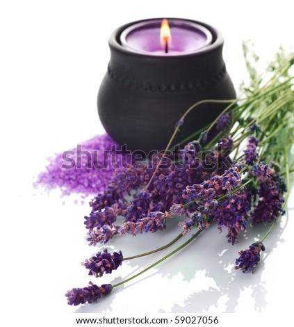 Spa Lavender cosmetics - stock photo