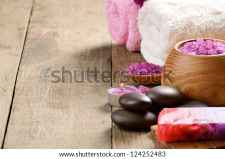 Spa lavender salt set on the wooden table with copy-space - stock photo