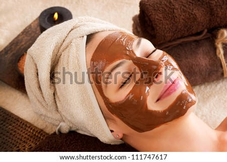 Spa Mask.Facial Chocolate Spa Mask. Chocolate Treatments. Beauty Spa Salon - stock photo