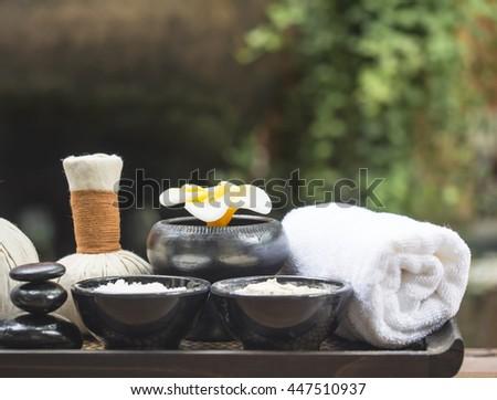 Spa massage compress balls, herbal ball with salt, turmeric and aroma, Thailand, select focus   - stock photo
