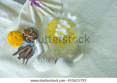 Spa massage compress herbal ball  - stock photo
