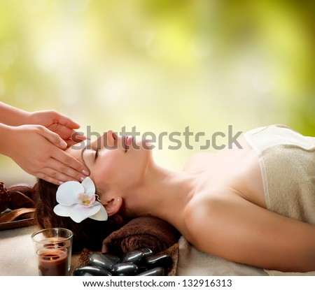 Spa Massage. Facial Massage outdoor. Nature. Beauty Treatments - stock photo