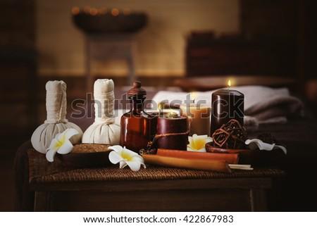 Spa massage setting, close up - stock photo