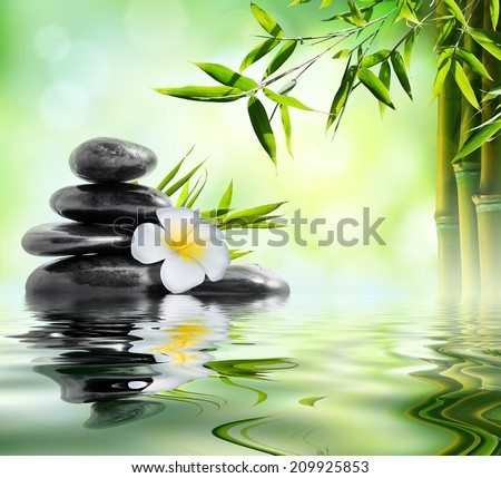 spa massage treatment in garden with frangipani and bamboo  - stock photo