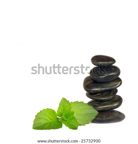 Spa massage treatment stones in perfect balance with lemon balm leaf herb sprig, over white background. - stock photo