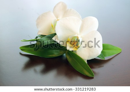 Spa orchid green towel - stock photo