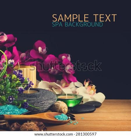 Spa over black - stock photo