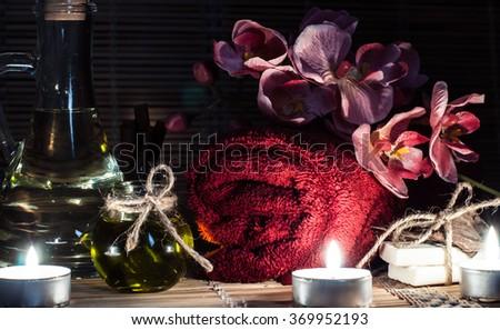 spa, pink orchid, oil, cinnamon, handmade soap - stock photo