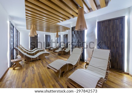 Spa room with many beds - stock photo
