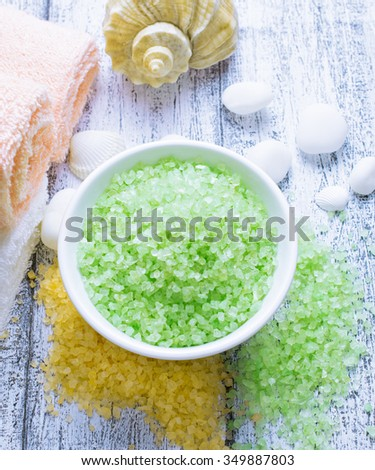 Spa salon with sea salt and towels.  For this photo applied color toning effect. - stock photo