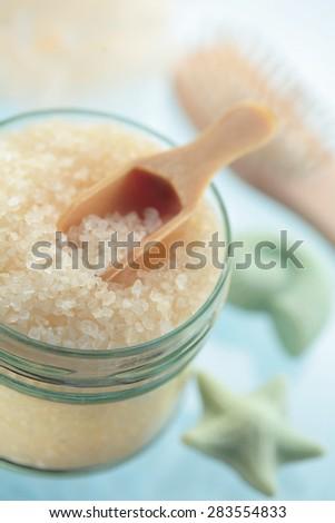 Spa, sea salt, soap, spa brushes - stock photo